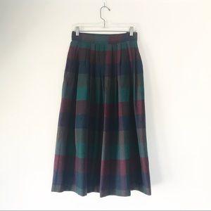 Vintage Wool Midi Length Pleated Midi Skirt